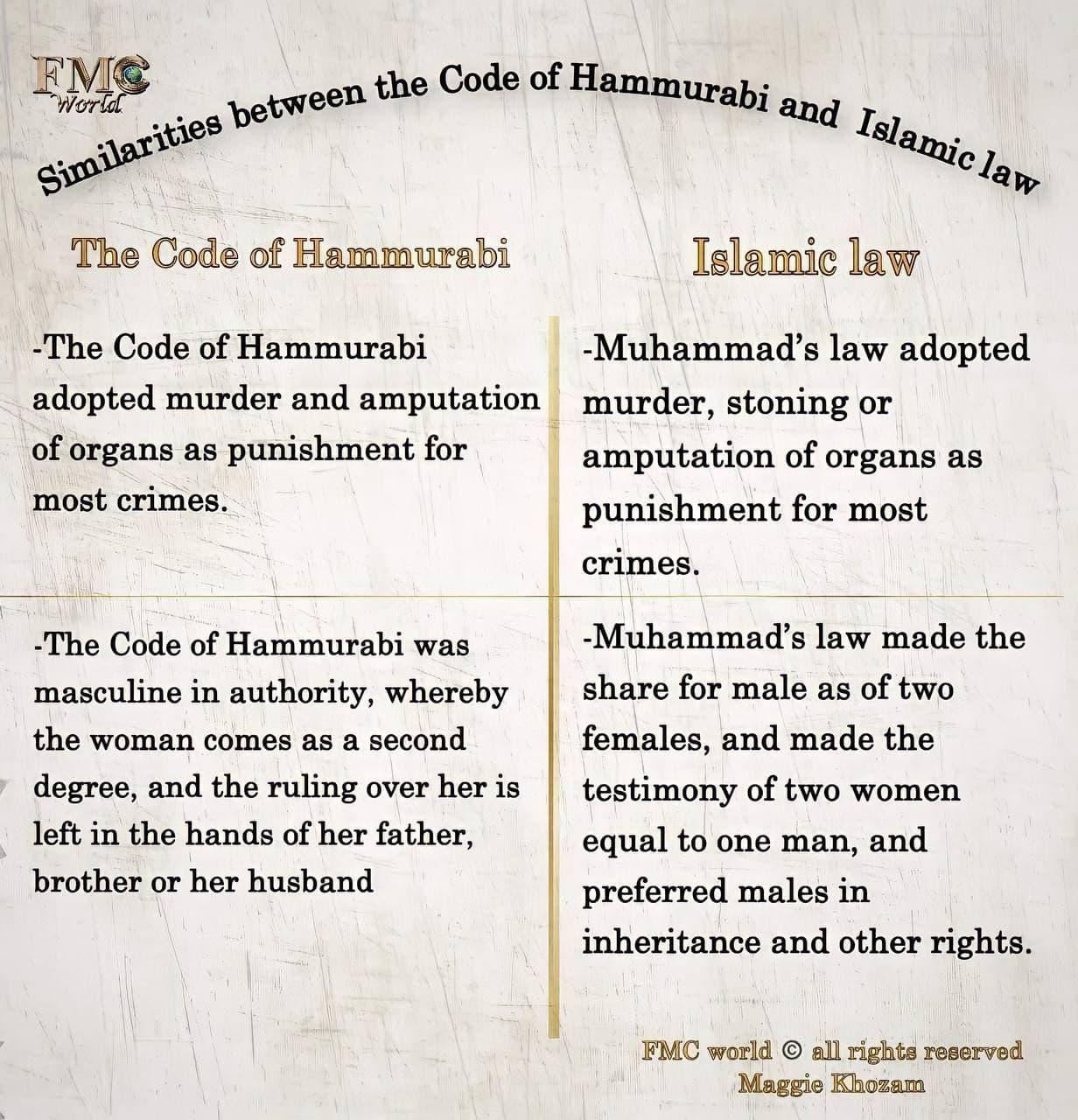 Islamic VS Hammurabi Law